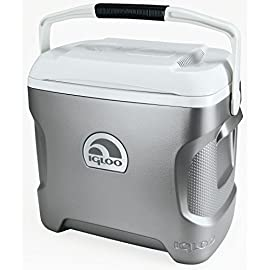 Igloo Iceless Thermoelectric Cooler 28 Cools without ice and leaves you more room for food and drinks Ergonomic design features a curved back that comfortably hugs your side while carrying Quiet brushless motor and convection cooling with a fan to circulate cold air
