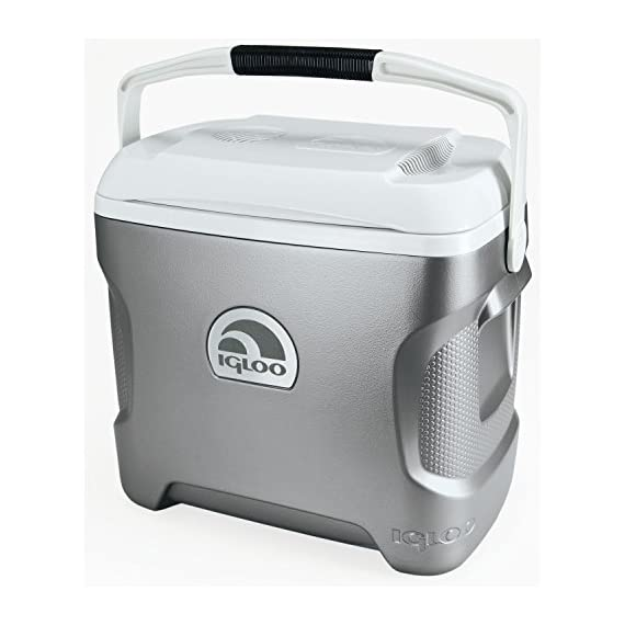 Igloo Iceless Thermoelectric Cooler 1 Cools without ice and leaves you more room for food and drinks Ergonomic design features a curved back that comfortably hugs your side while carrying Quiet brushless motor and convection cooling with a fan to circulate cold air