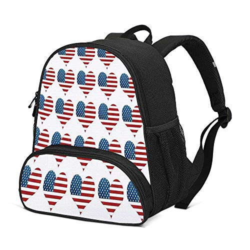 American Flag Decor Durable Kids Backpack,Heart Figures with Flag Idol Patriot Pattern Modern American Day Graphic for School Travel,10