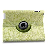 TOPCHANCES Auto Sleep/Wake Function 360 Degree Rotating Smart Case Cover for 9.7 inch Apple iPad (4th Generation)/iPad 3 / iPad 2 with a Stylus as a Gift--Floral Pattern,Green