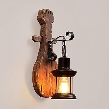 Apliques Lámpara de Pared de Madera del Barco del Vintage, lámpara del Hummock, lámpara de la decoración de la Pared de la Escalera de la Barra de la cafetería Iluminación de Interior: