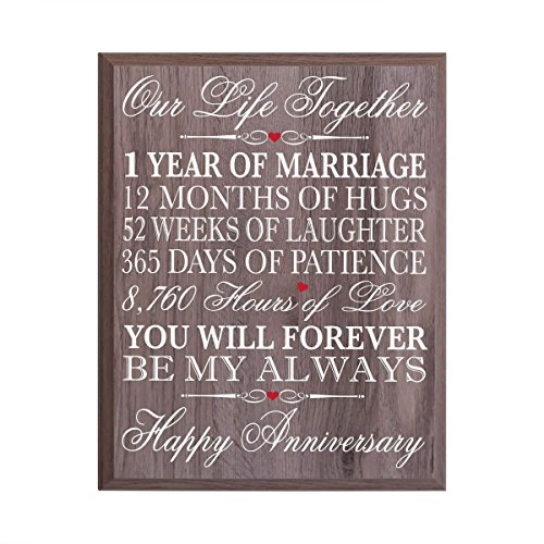 "1st Wedding Anniversary Wall Plaque Gifts for Couple, 1st Anniversary Gifts for Her,1st Wedding Anniversary Gifts for Him 12"" W X 15"" H Wall Plaque By LifeSong Milestones (Salt Oak)"