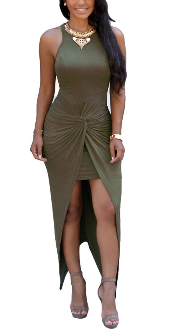 Oops Style Women's Knotted Front Slit Cocktail Dress Army Green,Large