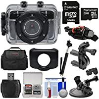Vivitar DVR781HD HD Waterproof Action Video Camera Camcorder (Black) with 32GB Card + Suction Cup, Helmet, Bike & Dashboard Mounts + Case + Selfie Stick + Kit
