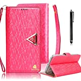 iPhone 6S Cases, iPhone 6 Wallet Case, Bonice Luxury Premium Bling Glitter Book Style [Wrist Strap] Phone Case PU leather Magnetic Closure Flip Stand Anti-scratch Cover Skin + Metal Stylus Pen - Red