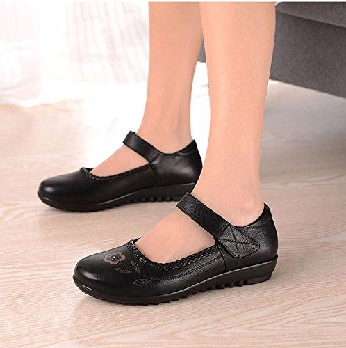 De Mediana Tacón Edad Zapatos Zapatos Zapatos Madre De Plano Granny Primavera Mujeres Suaves MDRW Old Inferiores Zapatos Planos Edad Y Zapatos black De De Fondo Yg0xw0n