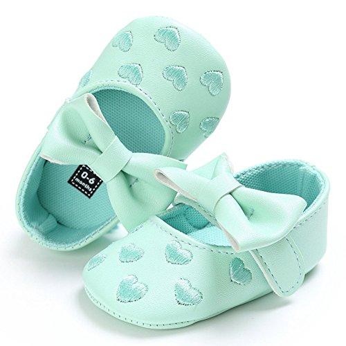 hibote Neugeborene Baby Mädchen Weiche Leder Prinzessin Big Bowknot Kleinkind Prewalker Schuhe Red 6-12M Grün