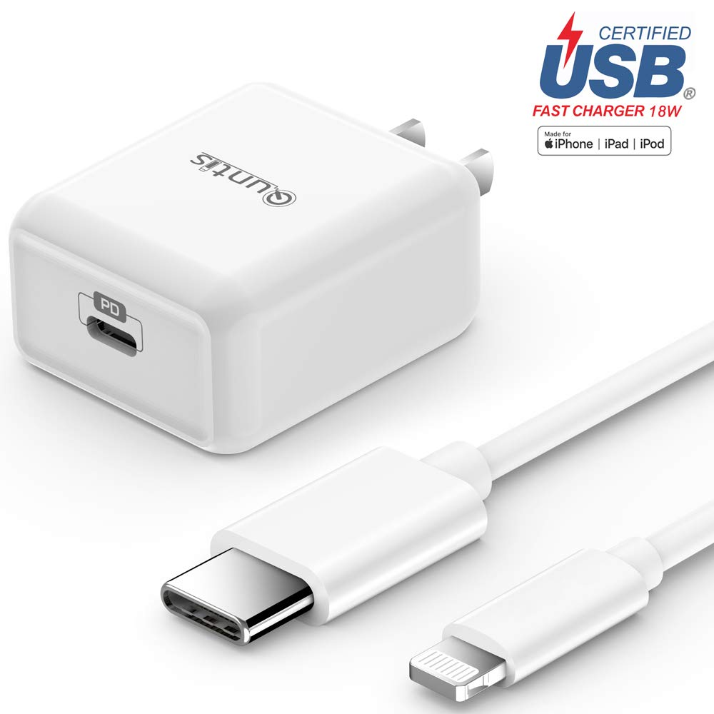 iPhone Fast Charger Apple Certified - Quntis Lightning Cable 6FT with USB C Wall Charger 18W Support Power Delivery for iPhone 11 Xs Max XR X 8 Plus iPad Pro [Compatible for iPhone 7 6 Plus 5S], White by Quntis