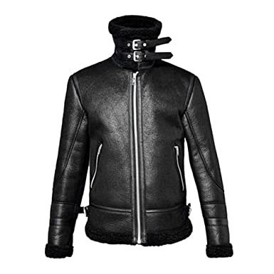 WM & MW Mens Overcoat Winter High Neck Warm Zipper Fur Liner Lapel Leather Jacket Coat Outwear Top at Amazon Mens Clothing store: