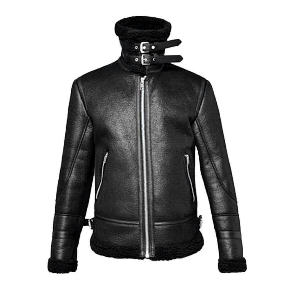 GOVOW 2018 Clothes Highneck Jacket Long Sleeves Fur Liner Lapel Leather Zipper Outwear CoatWomen