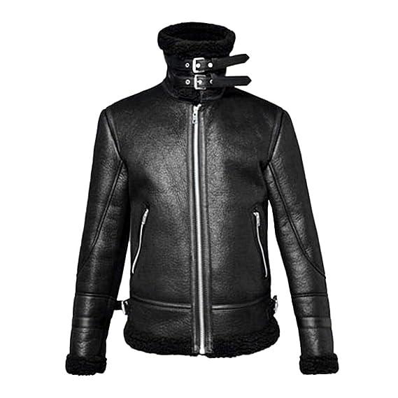 Amazon.com: Mens Autumn Winter Warm Coat Faux Fur Lined Lapel High Neck Jacket Classic Motorcycle Faux Leather Zipper Outwear: Clothing