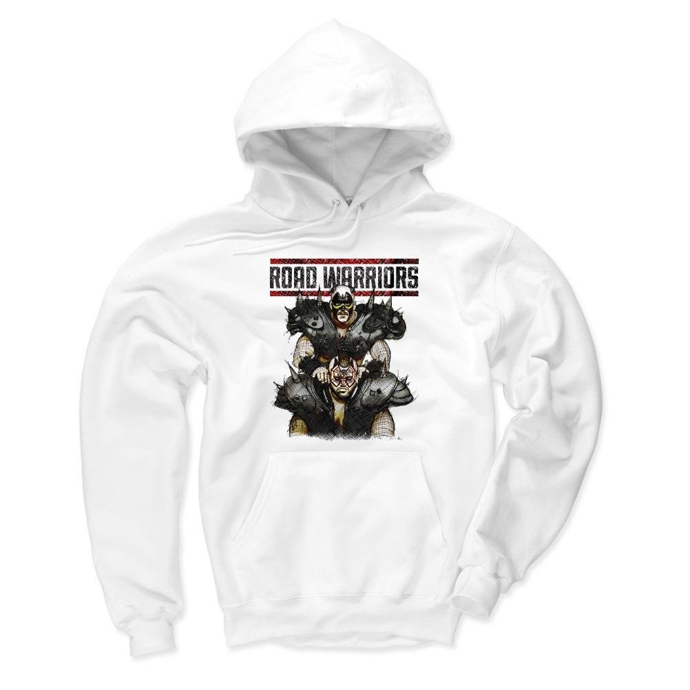 500 Level's Road Warriors Winter Hoodie XXXL White - Road Warriors Sketch K - Officially Licensed by Pro Wrestling Tees by 500 Level