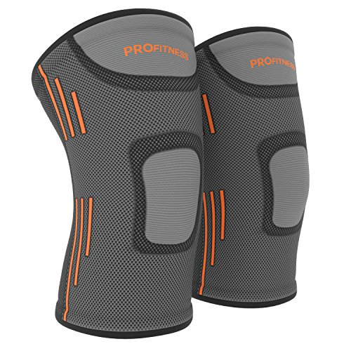 (ProFitness Knee Sleeves (One Pair) Knee Support For Joint Pain & Arthritis Pain Relief - Effective Support for Running, Pain Management, Arthritis Pain, Surgery Recovery (Large, Dark Gray/Orange))