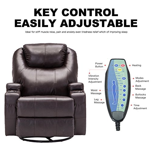 Murtisol Massage Recliner Lounge with Heat and Massage Vibrating Sofa Chair with Quality PU Leather (Brown) by Murtisol (Image #2)