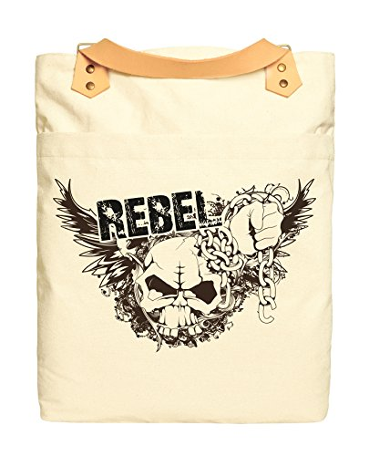 (Rock Skull Style Rebel Print 100% Cotton Canvas Leather Straps Backpack WAS_34)
