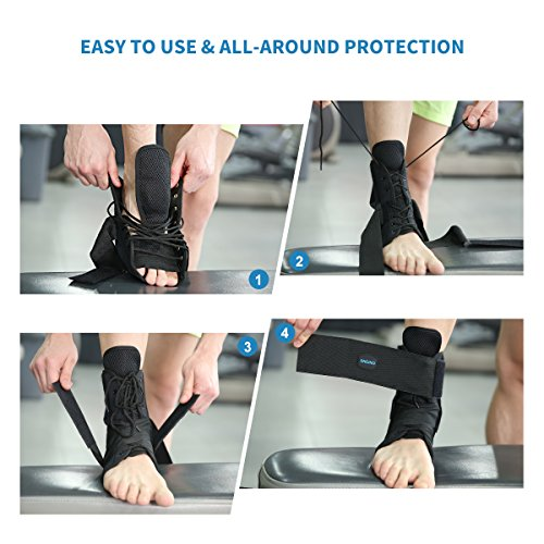 Ankle Stabilizer SNEINO Adjustable Ankle Brace with Gel Spring Support Ankle for Pain Recovery Reduce Foot Swelling Provides Arch Support,Heel Spurs,Achilles Tendon (M) by SNEINO (Image #3)