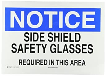 """Brady 85042 Self Sticking Polyester Eye Protection Sign, 10"""" X 14"""", Legend """"Side Shield Safety Glasses Required In This Area"""""""