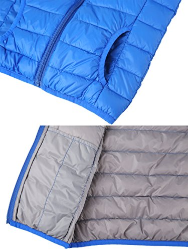 Hooded Sleeveless Blue Sapphire Puffer Wantdo Down Vest Packable Boy's Jacket Lightweight wEpqRYZ