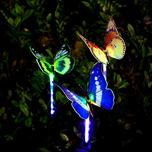 YUNLIGHTS 3pcs Garden Solar Lights Outdoor Garden Stake Lights Multi-color Changing LED Fiber Optic Butterfly Garden Solar Lights with Purple LED Light Stake for Garden Patio Backyard Decoration (Solar Garden Colored Lights Multi)