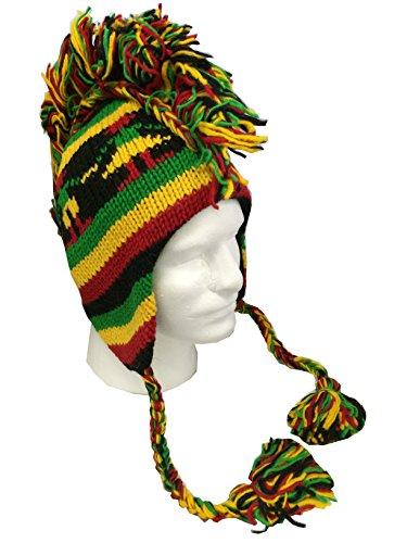 Unisex Punk Rasta Mohawk Hat, 100% Wool Hand Crocheted