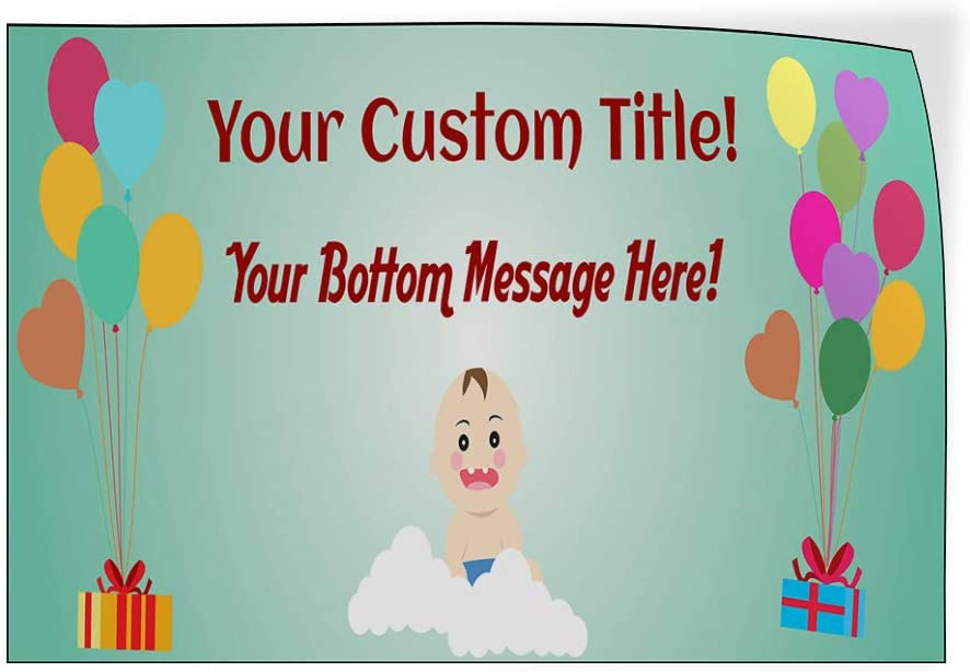 Custom Door Decals Vinyl Stickers Multiple Sizes Your Title Baby Shower Message Blue A Lifestyle Baby Shower Celebration Outdoor Luggage /& Bumper Stickers for Cars Light-Blue 28X20Inches Set of 5