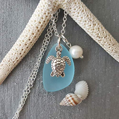 "Handmade in Hawaii, Turquoise bay blue sea glass necklace, sea turtle charm, fresh water pearl, sterling silver chain,""December Birthstone"", FREE gift wrap, ..."