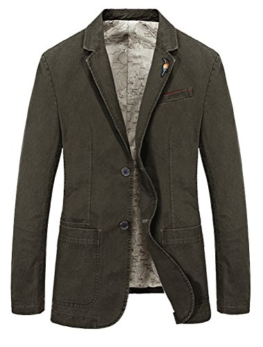 Mordenmiss Men's Lapel Sport Coats Two-Buttons Premium Cotton Trench Blazer L Army Green by Mordenmiss