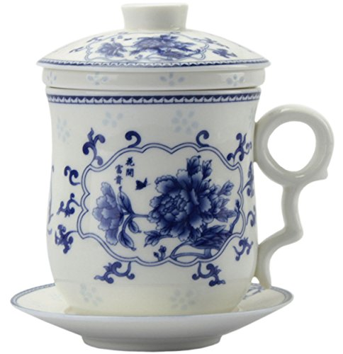 (BandTie Convenient Travel Office Ceramics Teacup Loose Leaf Tea Brewing System-Chinese Jingdezhen Blue and White Porcelain Tea Cup Infuser 4-Piece Set with Tea Cup Lid and Saucer (Peony Flowers))