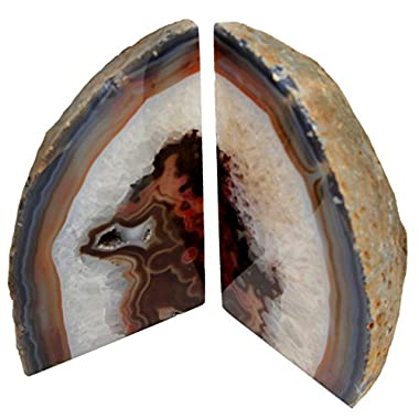 Genuine Brazilian Extra Quality Agate Bookends. Certified Mineral Guide Card Included. 2-3 lbs. (Red Rust)