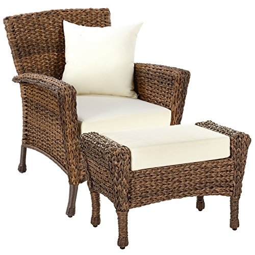 WUnlimited Rustic Collection Outdoor Garden Patio Light Brown Rattan Wicker Furniture Set Deep Seating Aluminum Frames Coffee Table (1 Chair, 1 Ottoman)