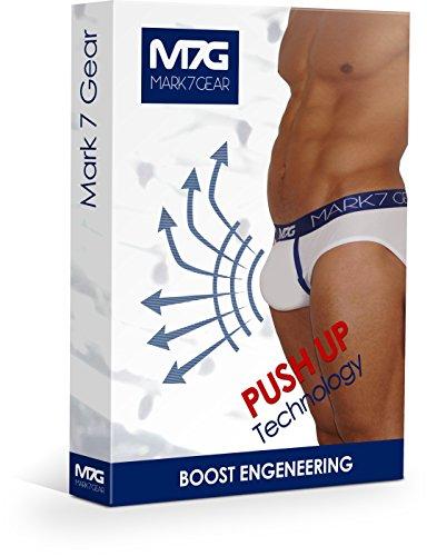 Unterhose Mark7Gear, Herren Slip CITY - weiss - mit Boost Engeneering (PUSH-UP)