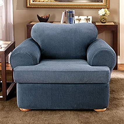 Surefit Stretch Stripe Separate Seat T Cushion Chair Slipcover Navy Sf37731