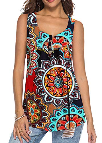 MODARANI Floral Tank Top Sleeveless T Shirts for Womens Pleated Cami Tunic Tops Orange ()