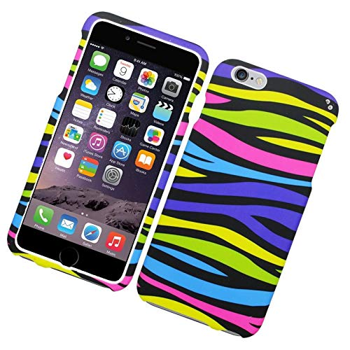 Insten Zebra Rubberized Hard Snap-in Case Cover Compatible with Apple iPhone 6 Plus/6s Plus, Colorful