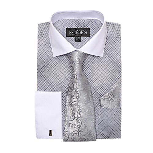 - George's Small Check Pattern Fashion Dress Shirt With Woven Tie Set AH624 Silver-16-16 1/2-36-37