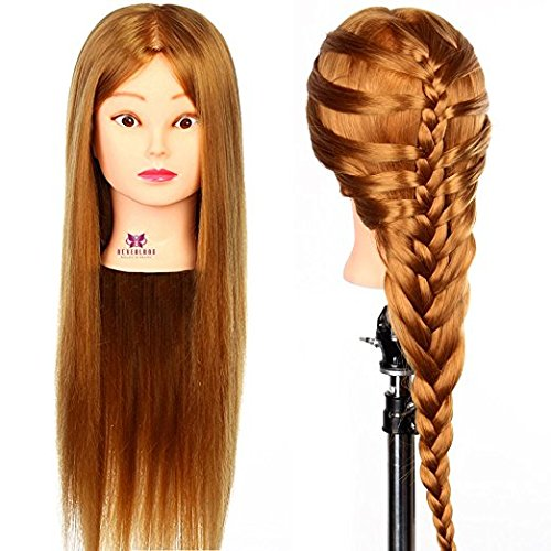 3-5 Days Delivery Neverland Beauty 26 Inch 30% Real Hair Hairdressing Cosmetology Training Head Mannequin Head Hairdresser Training Head w/Clamp For College and Professional Use #27 by Neverland Beauty & Health (Image #2)