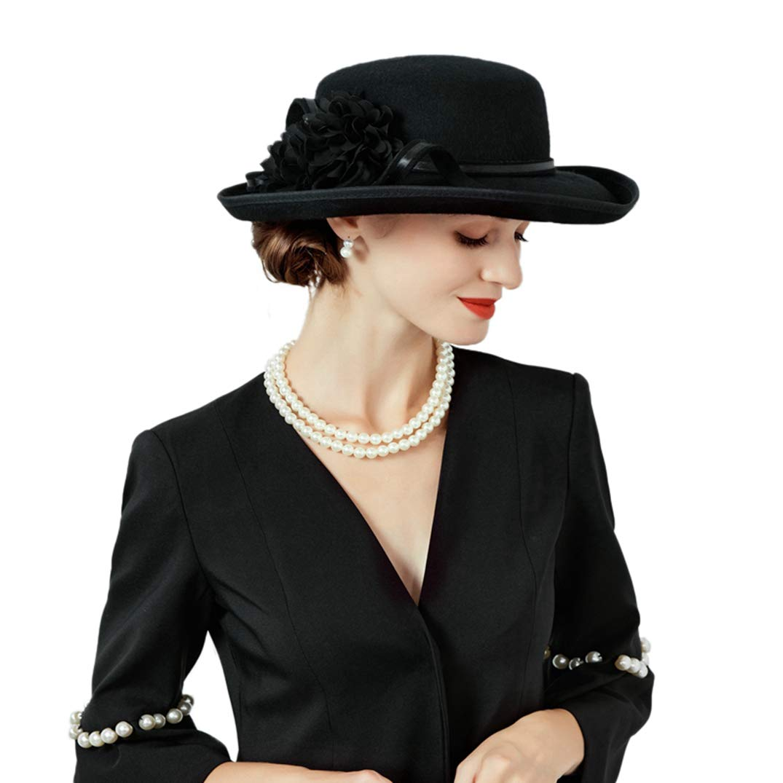 Large Brim Hat for Women Elegant Simple Beret Hats Black Party Church Fedoras