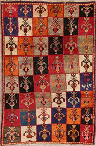 Checkered Handmade Wool Gabbeh 3x5 Oriental Persian Area Rug (4' 10