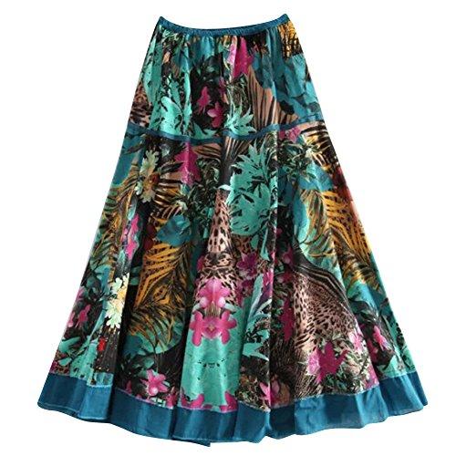 Femmes Midi Jupe Imprim Hldj Floral Ligne lgant A Jupe Taille Longue Elastique FZ7BqF