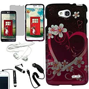[ARENA] PURPLE PINK FLOWER HEART COVER SNAP ON HARD CASE for LG L90 TMOBILE + FREE ARENA ACCESSORY KIT