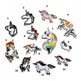 Luckiplus 12PC Patch Unicorn-Design DIY Sew On Patches Applique for Clothes T-shirt Jeans Skirt Vests Scarf Hat Bag