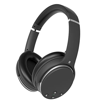 Review Axceed Wireless Headphones Active Noise Cancelling Bluetooth 4.0 Over-Ear Headset with Mic Studio 3D Stereo Surround Sound Earphones 20H Playtime Foldable Comfortable Wired Mode for Cellphone, PC, TV