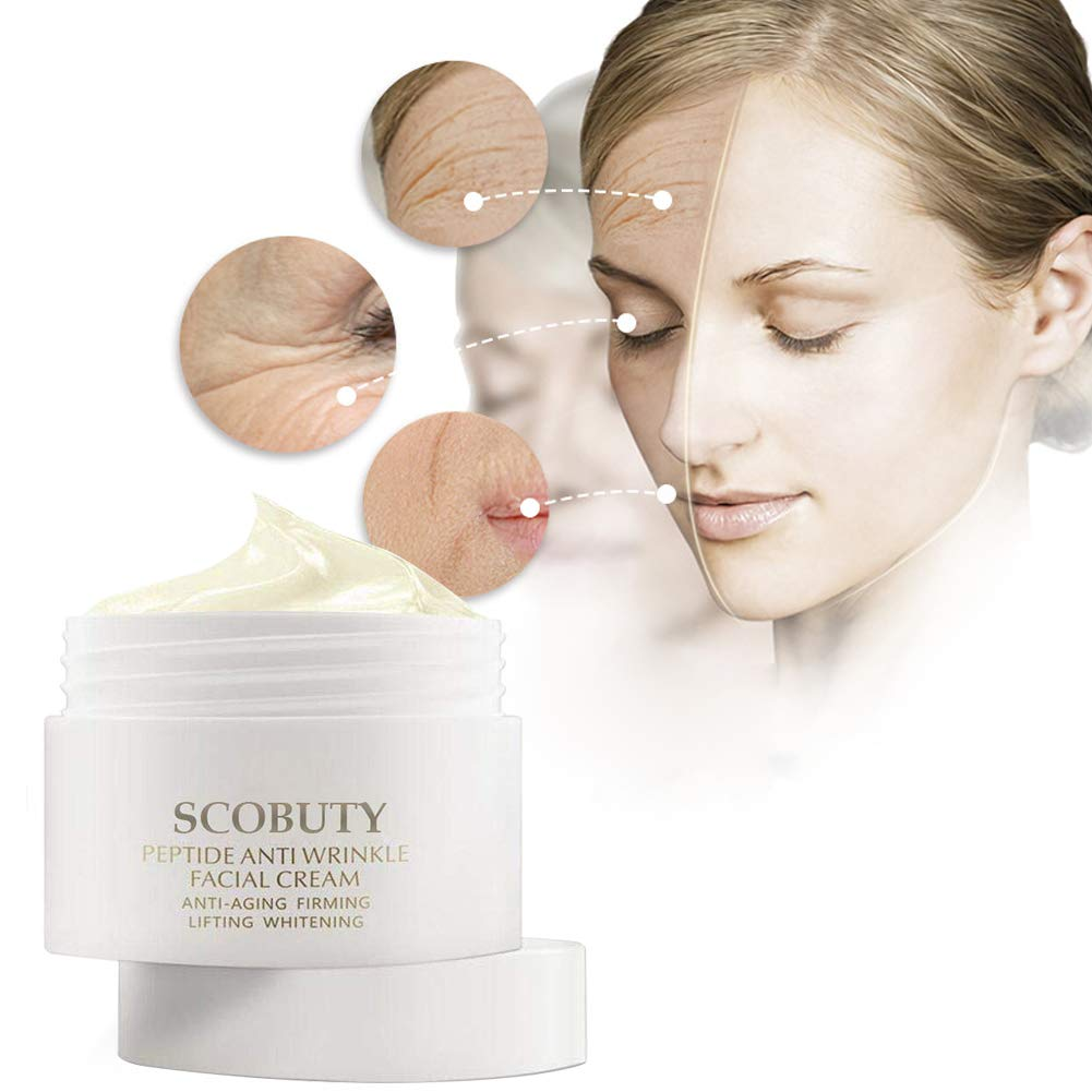 Peptide Wrinkle Cream,Anti-Wrinkle Cream,Anti aging serum,Anti-Aging Face Moisturizer Cream,Firming, Moisturizing,Lightening Wrinkles,Fights the Appearance of Wrinkles, Fine Lines,Best Day and Night by SCOBUTY