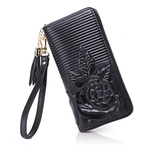 APHISON Women Leather Purse Ladies Clutch With Wristlet Embossed Rose Long Wallet For Women/Gift Box 2058-BLACK