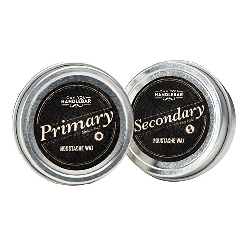 Primary and Secondary Moustache Wax SET | The Best Daily and Extra Strength Wax Kit (Best Moustache Wax compare prices)
