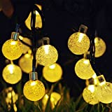Vmanoo Christmas Solar Powered Globe Lights,30 LED (19.7 Feet) Globe Ball Fairy String Light for Outdoor, Xmas Tree, Garden, Patio, Home, Lawn, Holiday,Decor, Waterproof, 2-Pack (Warm White)