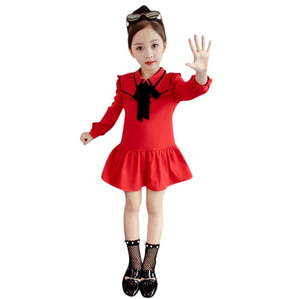 Suma-ma Infant Kid Girls Fashion Casual Red Ruffles Ruched Bowknot Dress