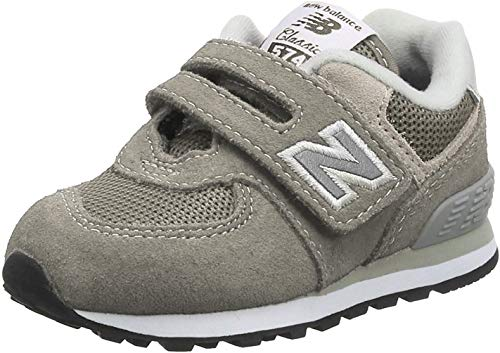 New Balance Boys 574v1 Hook and Loop Sneaker, Grey/Grey, 6 W US Infant (0-12 Months)