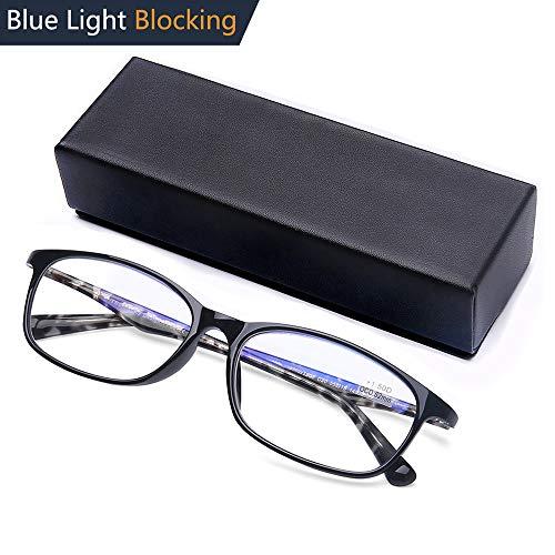 Computer Reading Glasses Blue Light Blocking Italy Design TR90 Pattern Frame Rectangular Readers for Men and ()