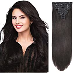 "20"" Human Hair Extensions Clip on Real Hair Clip in Extensions for Medium Hair Full Head Off Black 10pieces 160grams/5.6oz"